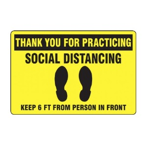 Slip-Gard™ Floor Sign: Thank You For Practicing Social Distancing