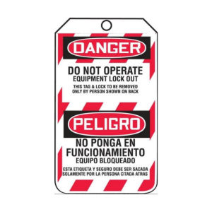 """Accuform Signs® """"DANGER/LOCKED OUT/DO NOT OPERATE"""" Bi-Lingual Lockout Tags"""